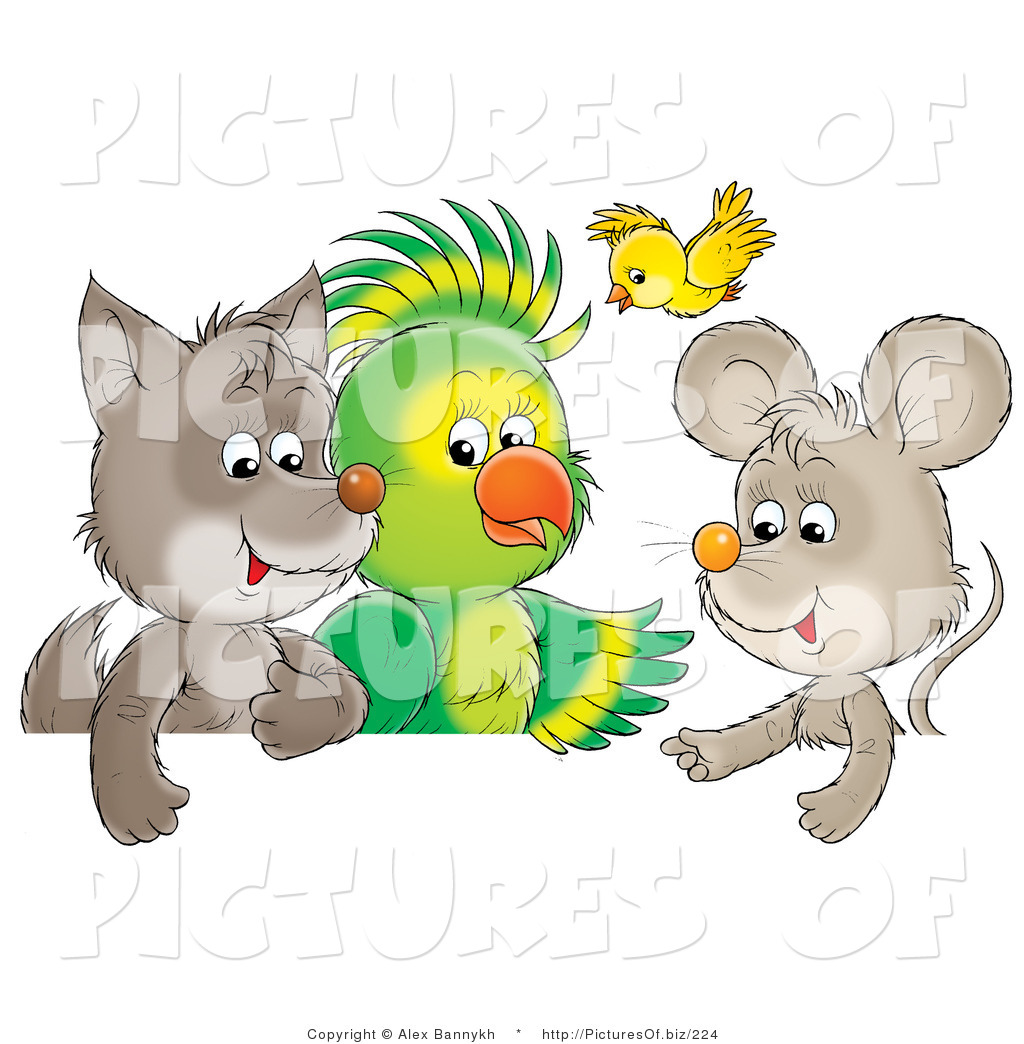 1024x1044 Clipart Of A Cute Baby Wolf, Parrot, Yellow Bird And Mouse