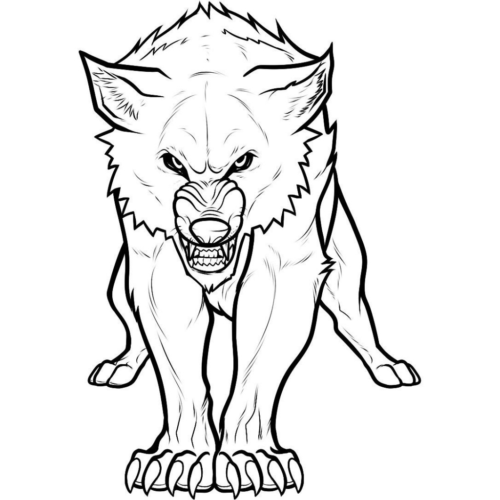 1024x1024 Arctic Wolf Clipart Coloring Page