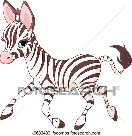 450x465 Clip Art of Cute running baby Zebra k6633489
