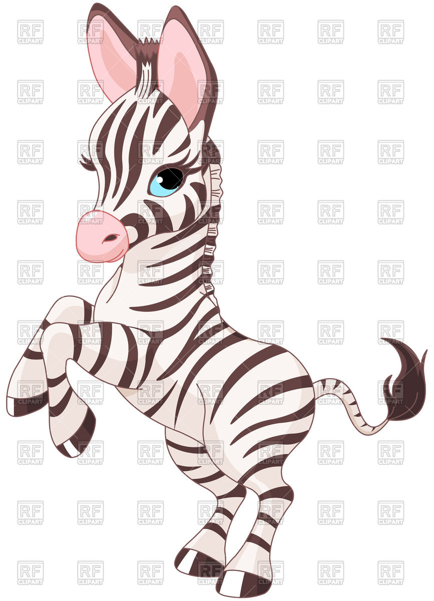 867x1200 Very Cute Baby Zebra Prancing Royalty Free Vector Clip Art Image