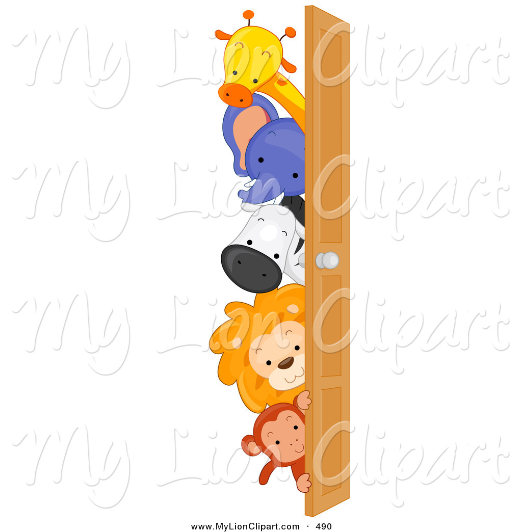 1024x1044 Clipart Of A Group Of Cute Animals Looking Around A Door By Bnp