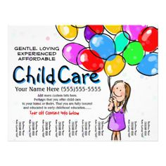 236x236 Child Care. Babysitting. Day Care. Tear Sheet Custom Flyers