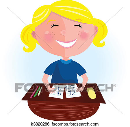 450x440 Clip Art Of Back To School Happy Blond Girl K3820286
