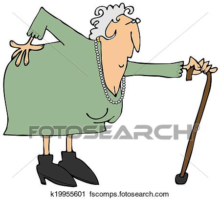 450x408 Clipart Of Old Woman With A Sore Back K19955601
