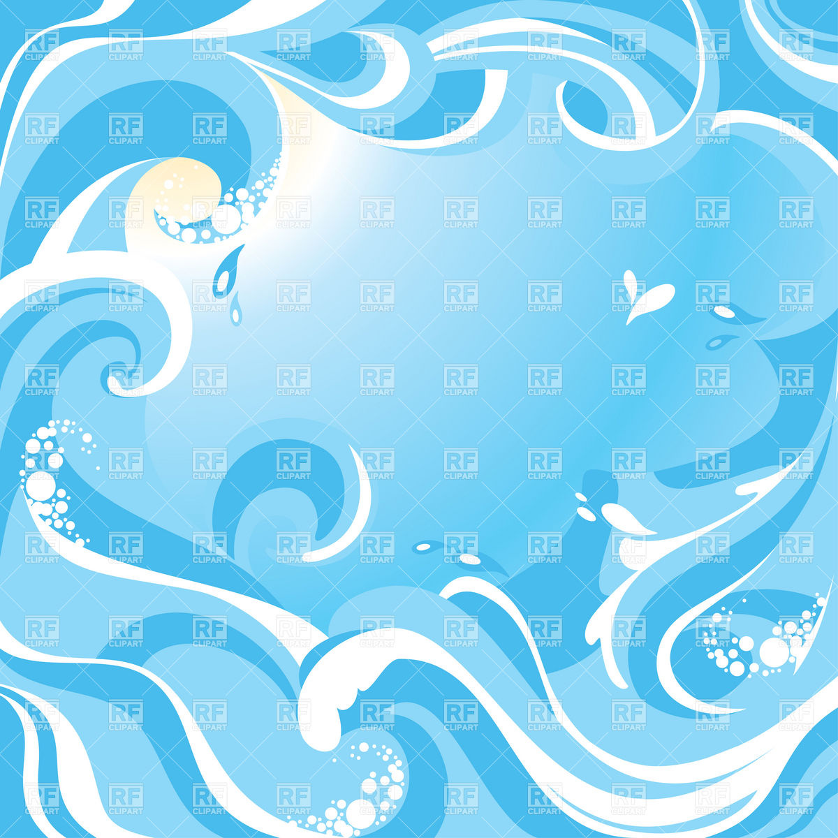 1200x1200 Abstract Water Background With Sea Waves Royalty Free Vector Clip