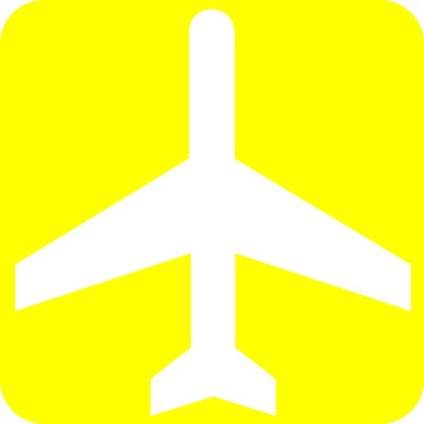 600x600 White Aeroplane With Yellow Background Clip Art