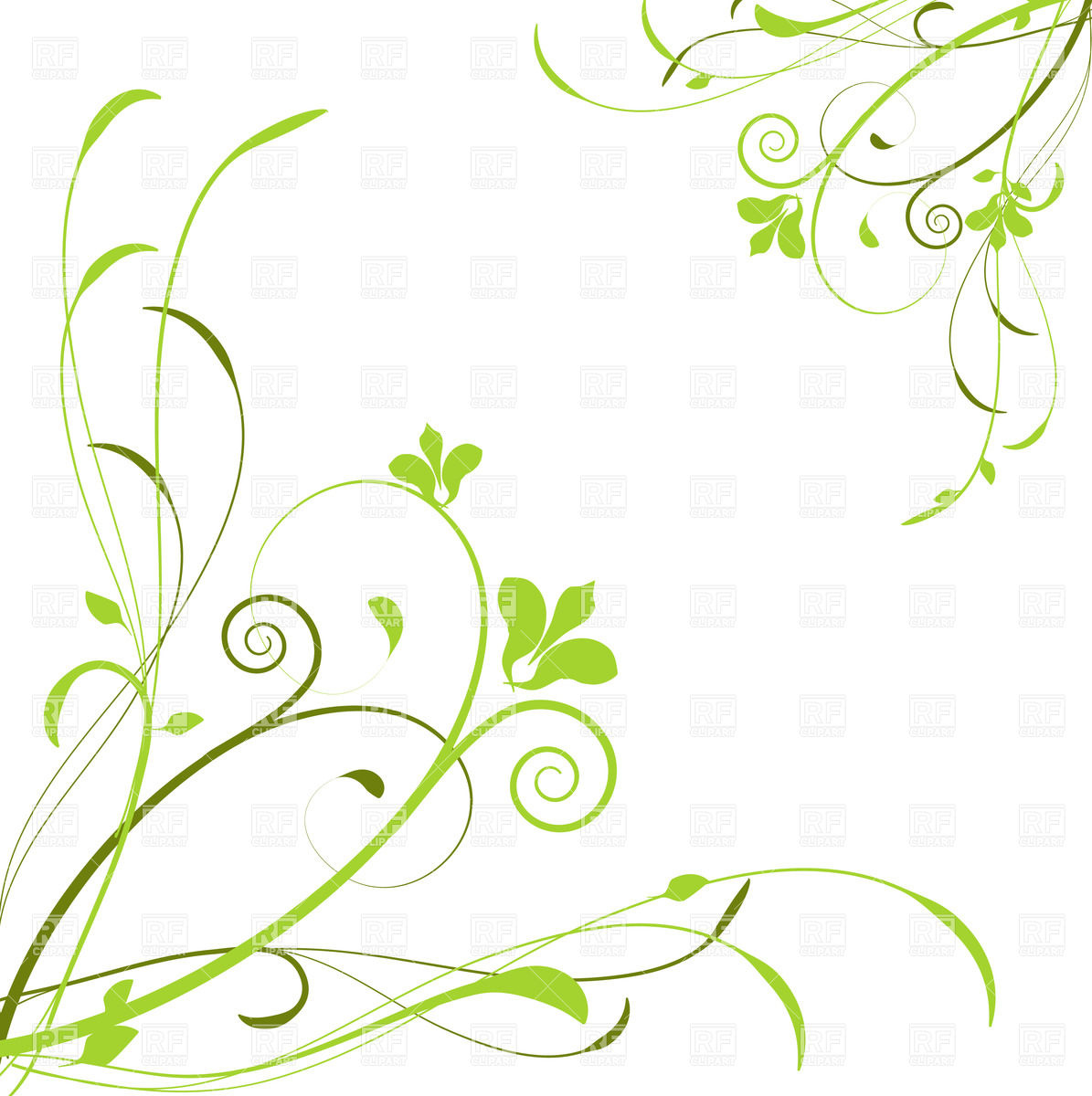 1195x1200 Abstract Background With Green Curly Flowers Royalty Free Vector