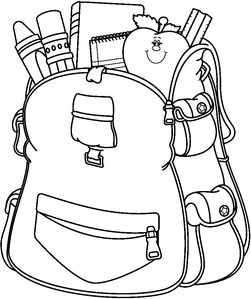 817x975 Free Backpack Clipart Black And White Image