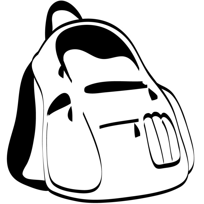 650x650 Backpack Black And White Clip Art