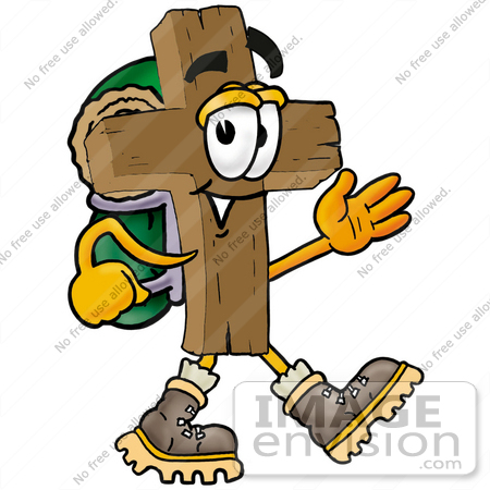 450x450 Clip Art Graphic Of A Wooden Cross Cartoon Character Hiking