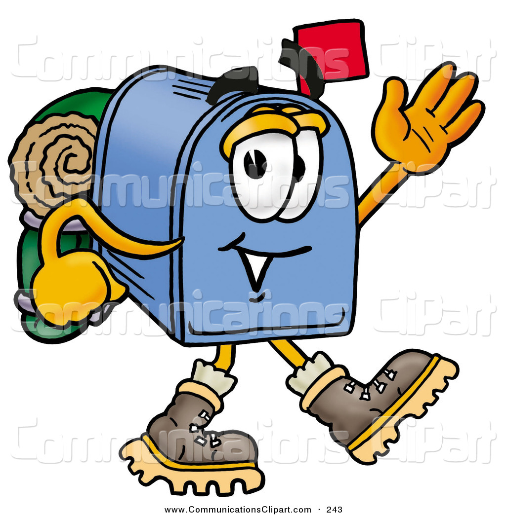 1024x1044 Communication Clipart Of A Sporty Blue Postal Mailbox Cartoon