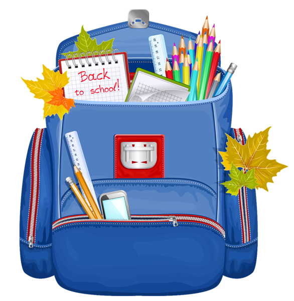 586x600 Back To School Backpacks Clipart