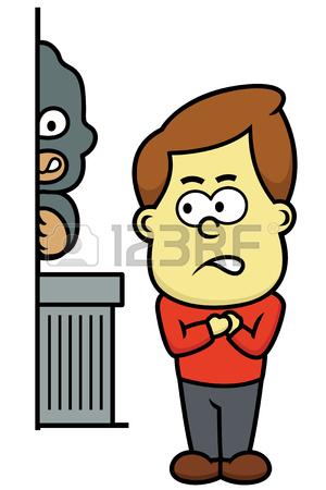 300x450 Man Being Followed By Bad Guy Cartoon Illustration Royalty Free