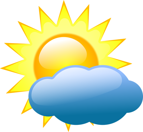500x462 Symbol For Sun With Bad Weather Clouds And Rain Vector Image