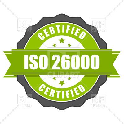400x400 Iso 26000 Standard Certificate Badge Royalty Free Vector Clip Art