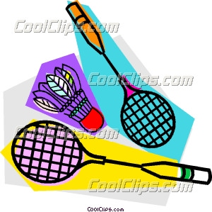 300x299 Badminton rackets and birdie Clip Art