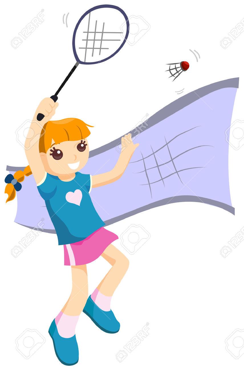 856x1300 Girl Clipart Badminton