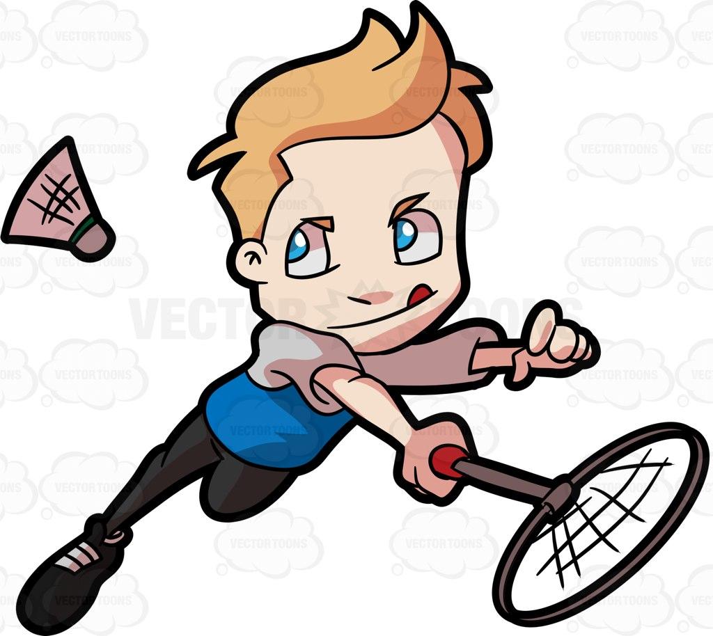 1024x914 A Preadolescent Boy Playing Badminton Cartoon Clipart
