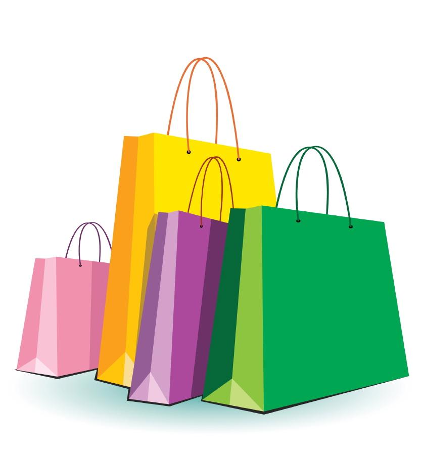 837x900 Four Shopping Bags Clipart
