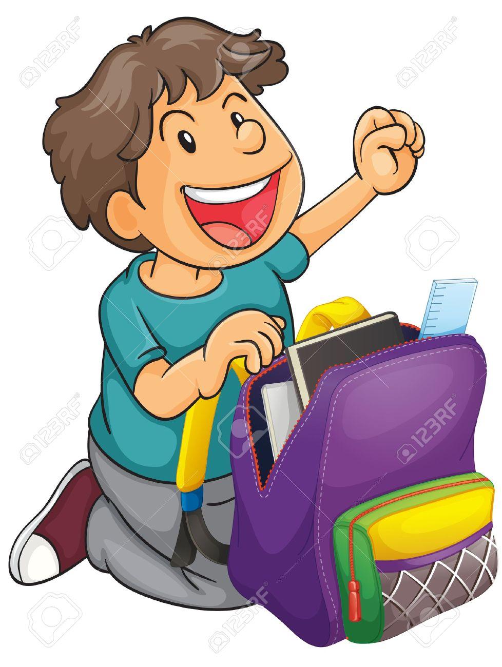 978x1300 Unpack School Bag Clipart