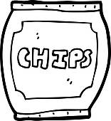 156x170 Clip Art Of Cartoon Potato Chips Bag K15558287