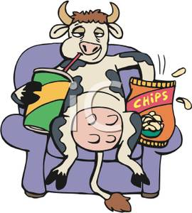 270x300 Cow Sitting On The Couch Eating Potato Chips And Drinking Soda