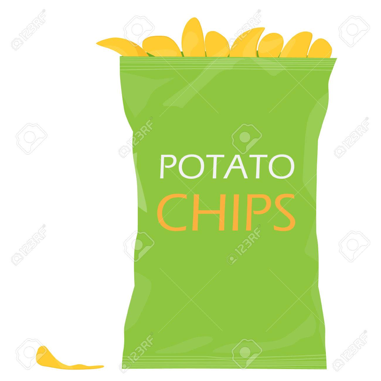 1300x1300 Raster Illustraton Green Pack With Potato Chips. Chips Bag Stock