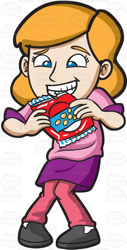 520x1024 A Woman Bite Opens A Bag Of Chips With Her Teeth Cartoon Clipart