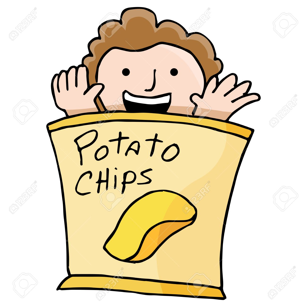 1300x1300 An Image Of A Kid Inside A Bag Of Potato Chips. Royalty Free