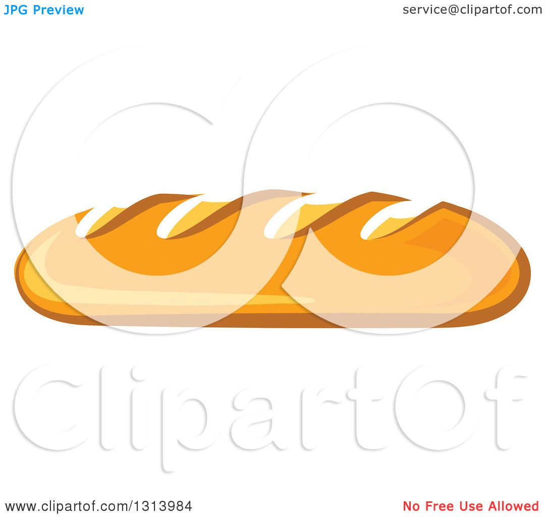 1080x1024 Clipart Of A Cartoon Loaf Of Baguette French Bread