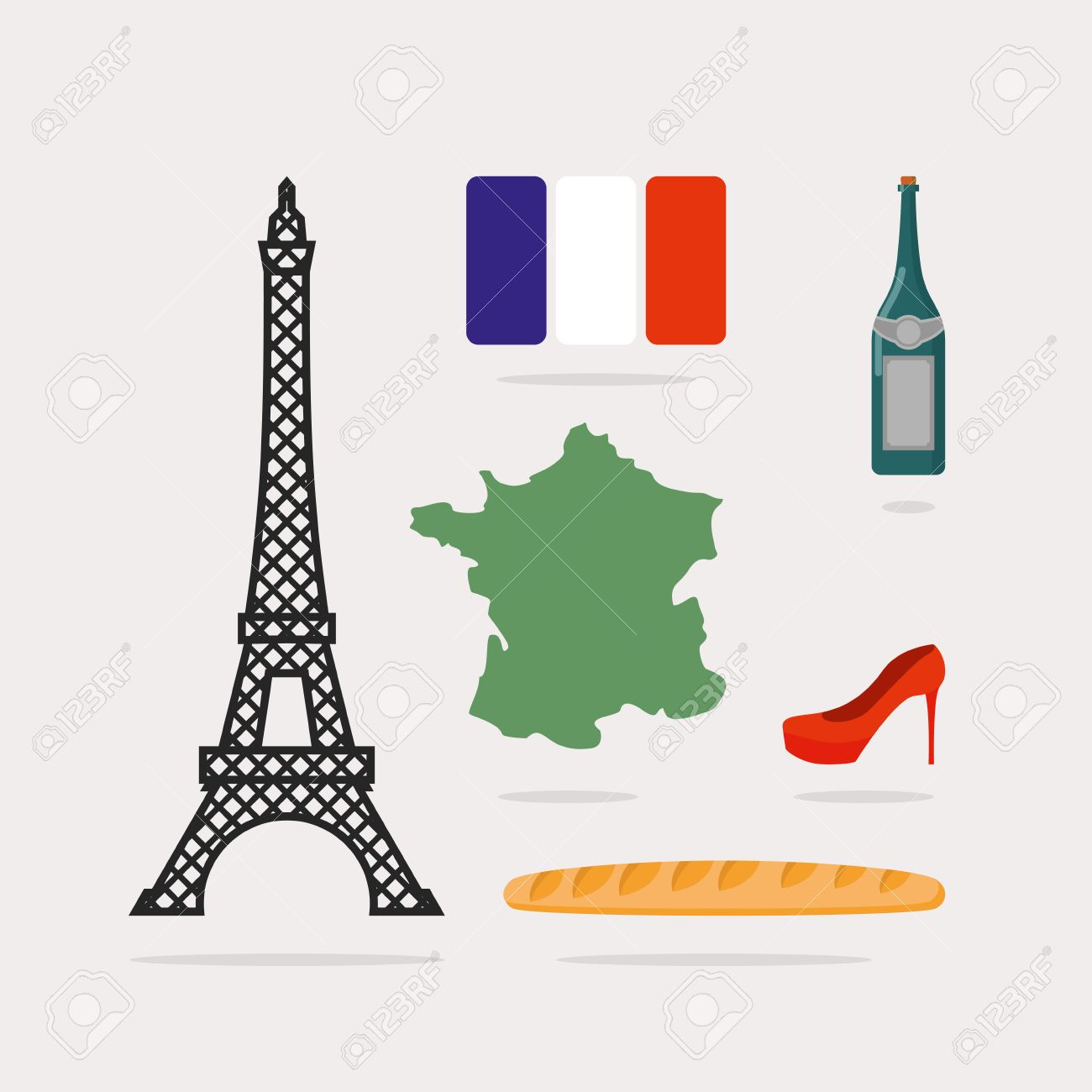 1300x1300 Icons Symbols Of France. Eiffel Tower And Map Country. Baguette