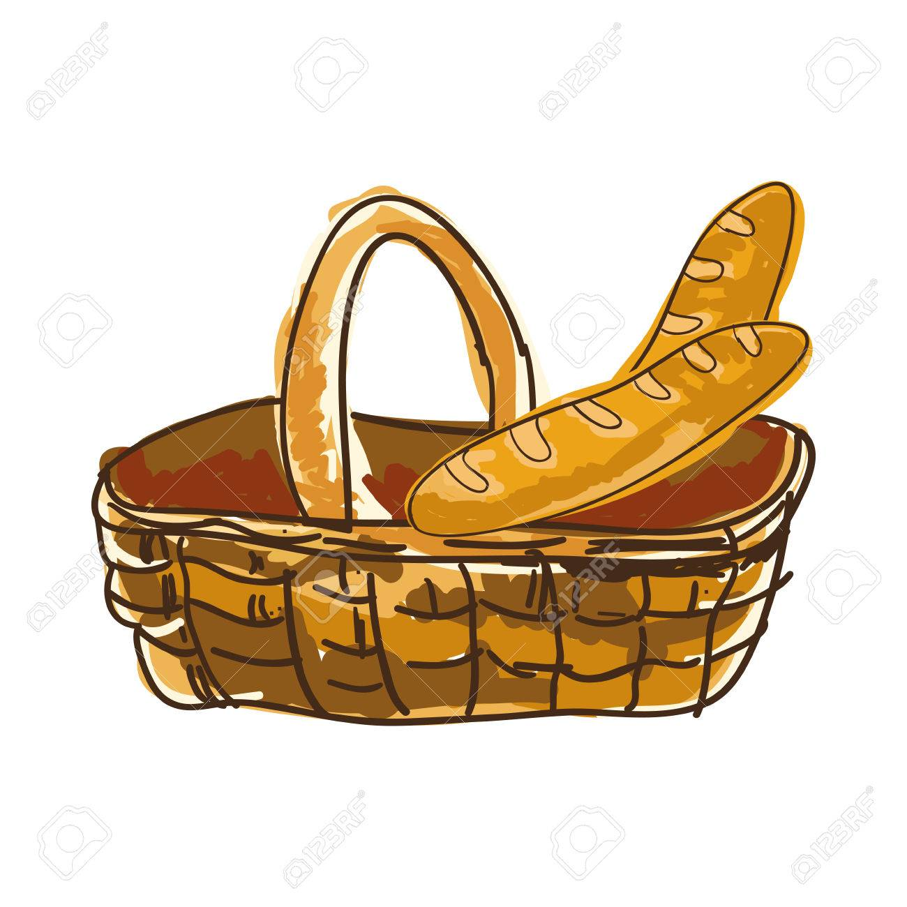 1300x1300 Basket With French Baguette Bread Bakery Food Product. Drawn