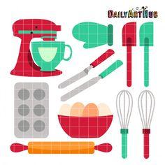 236x236 Baking Clip Art Set, Cherry Cupcake Baker, Kitchen Baking Utensils