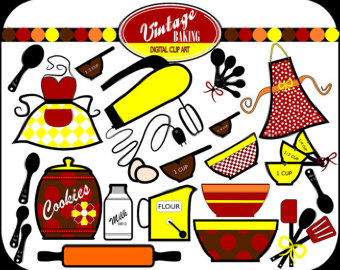 340x270 Retro Baking Clipart Etsy