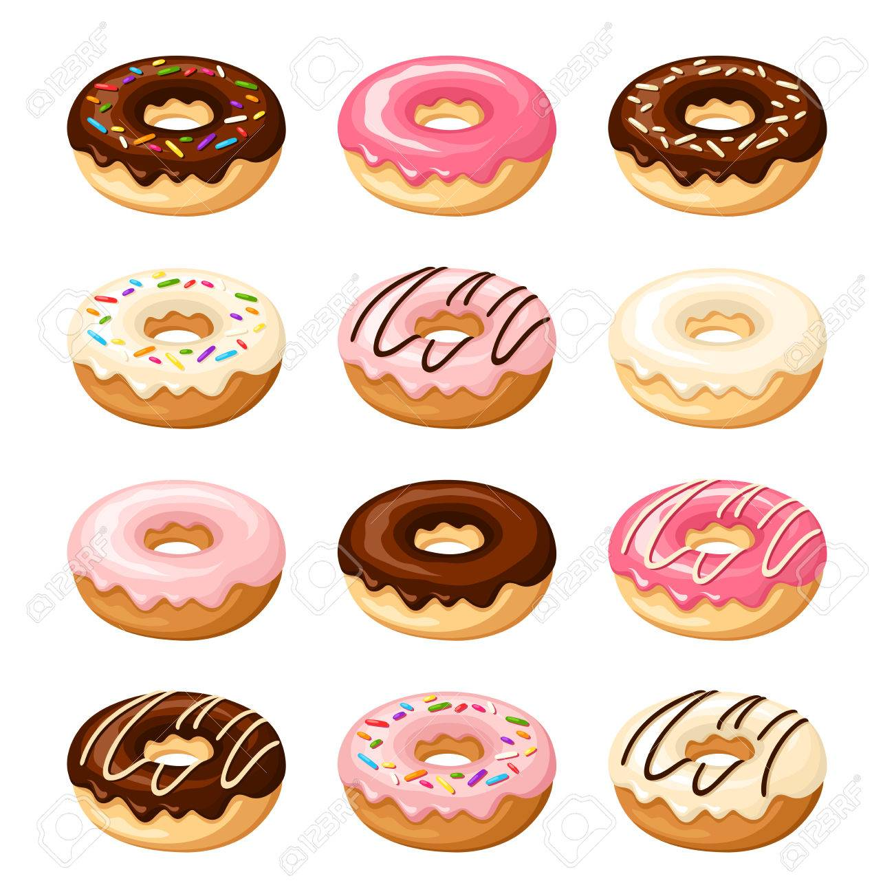 1300x1300 Set Of Twelve Donuts With White, Pink Chocolate Glaze
