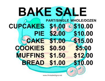 364x281 This Bake Sale Sign Is Bold And Cute With A Charming Pie