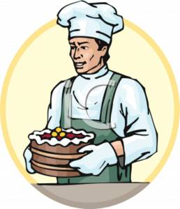 258x300 Clipart Picture Of A Baker Holding A Triple Layer Cake