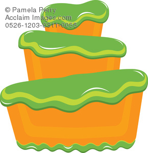 290x300 Art Illustration Of A Bakery Cake With Fluffy Green Frosting