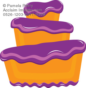 290x300 Art Illustration Of A Bakery Cake With Fluffy Purple Frosting