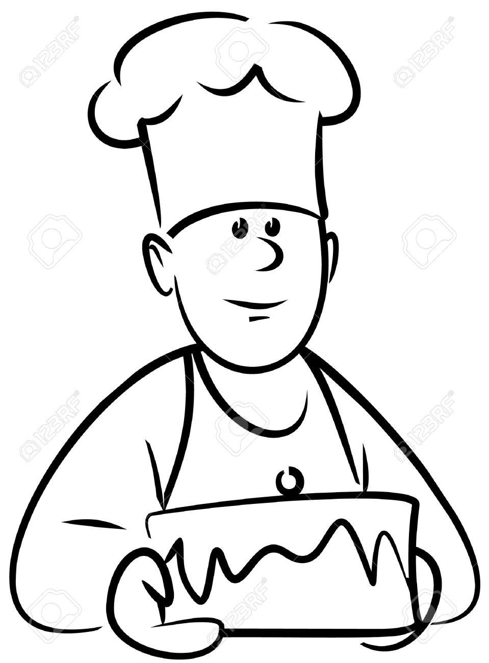 959x1300 4961379 Baker With Cake Vector Stock Vector Chef Cartoon Baker
