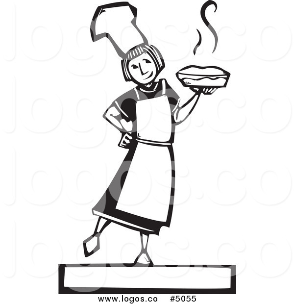 600x620 Royalty Free Vector Of A Woodcut Girl Holding A Fresh Pie Logo By