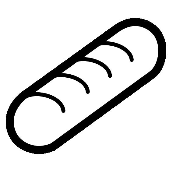 555x555 Clip Art Bakery Baguette Black White Line Super