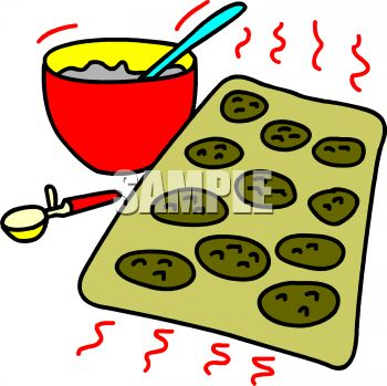 350x349 Clip Art Illustration Of A Mixing Bowl Of Cookie Mix And Cookies