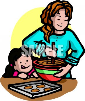 292x350 Royalty Free Clip Art Image Little Girl And Her Big Sister Baking