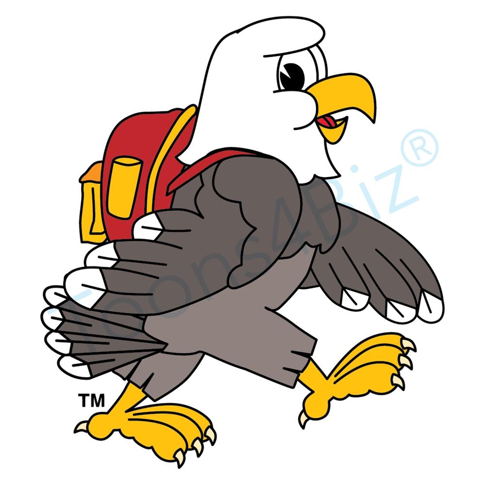 1000x1000 Bald Eagle Mascot Backpack Clip Art