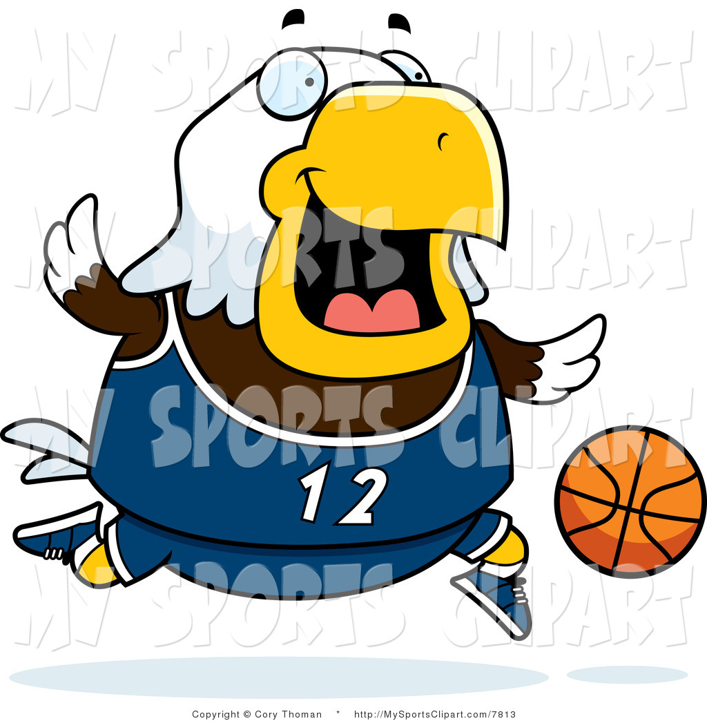 1024x1044 Sports Clip Art Of A Bald Eagle Playing Basketball In Navy Blue By