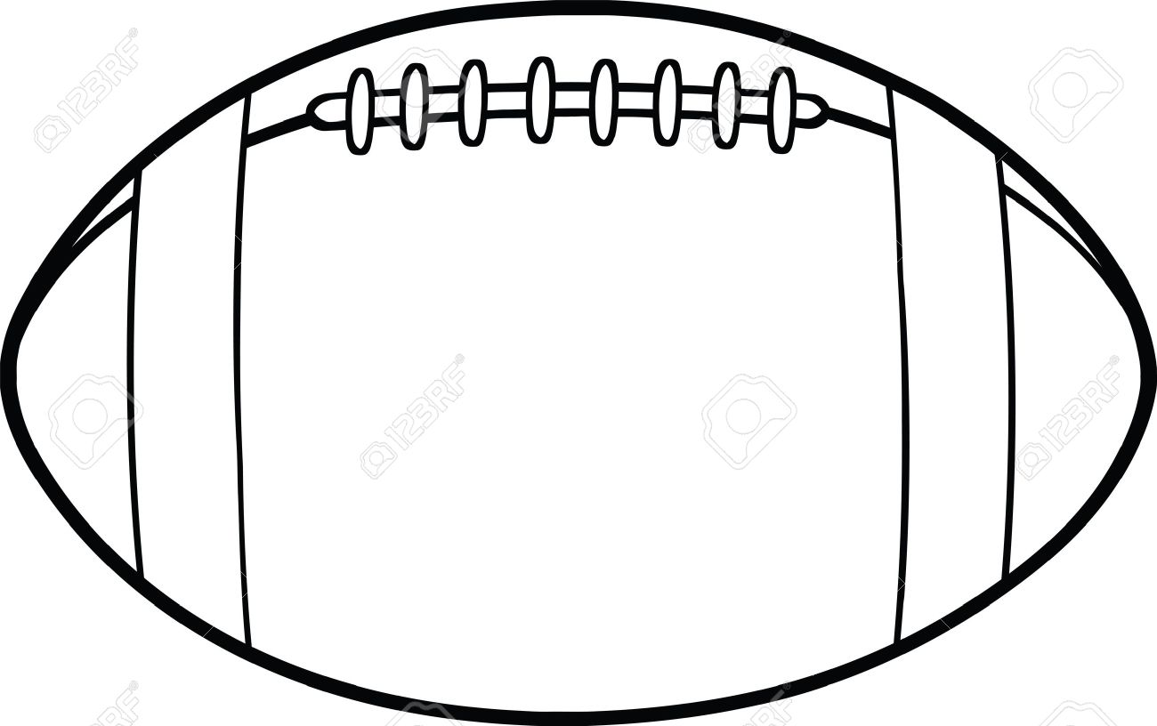 1300x816 Black And White American Football Ball Cartoon Illustration