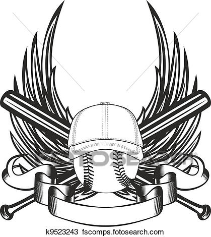 419x470 Clipart Of Ball In Baseball Cap And Wings K9523243