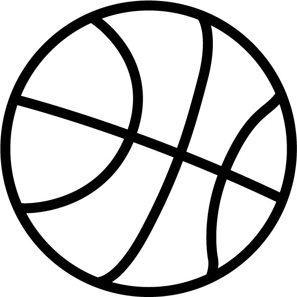 600x600 Basketball Black And White Clipart