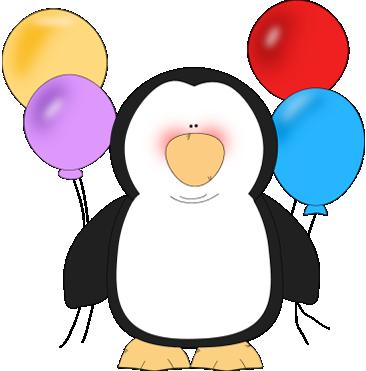 366x371 Penguin Holding Balloons Clip Art